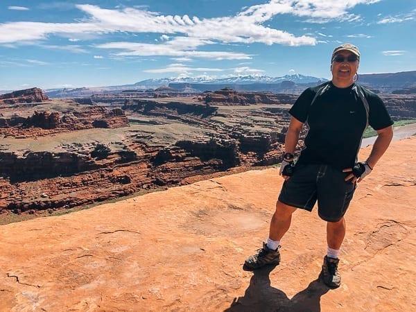 Bill at Gooseneck Overlook on White Rim trail Moab Utah by thewoksoflife.com