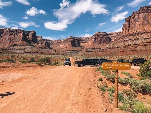 Potash Road and Schafer trail intersection White Rim trail Moab Utah by thewoksoflife.com