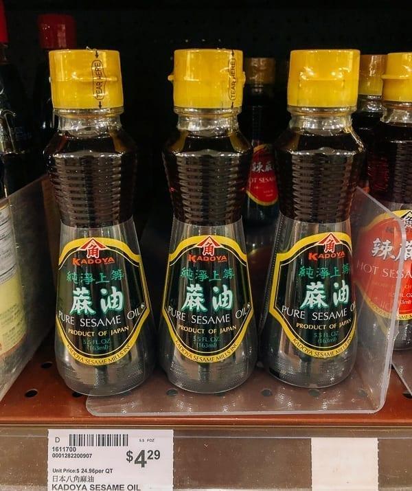 Kadoya sesame oil on store shelf, thewoksoflife.com