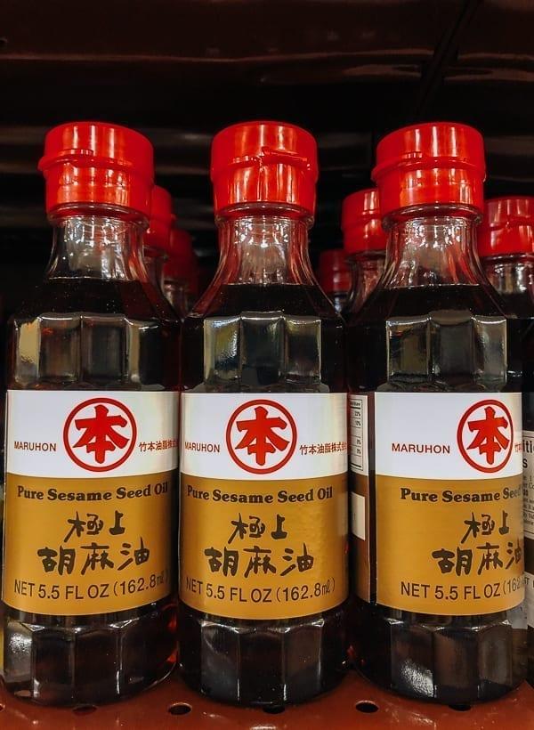 Maruhon Pure Sesame Seed Oil on store shelf, thewoksoflife.com