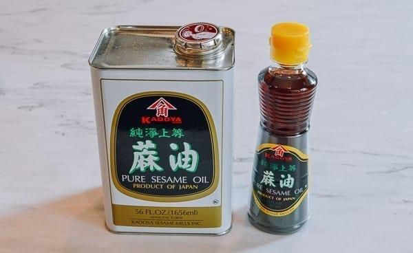 Kadoya sesame oil in bulk and small bottle, thewoksoflife.com