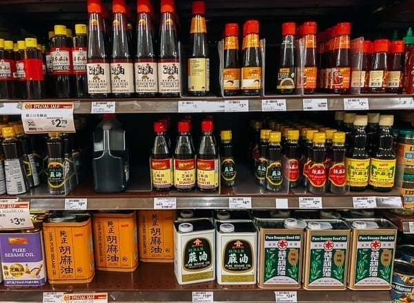 Sesame Oil section of Chinese grocery store, thewoksoflife.com