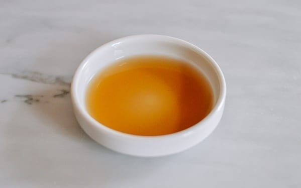 Shaoxing wine poured into a dish, thewoksoflife.com