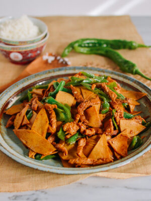 Chinese Tofu Sheet Stir-fry with Pork, thewoksoflife.com