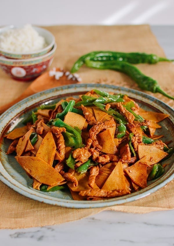 Chinese Tofu Sheet Stir-fry with Pork, thewoksoflife.com