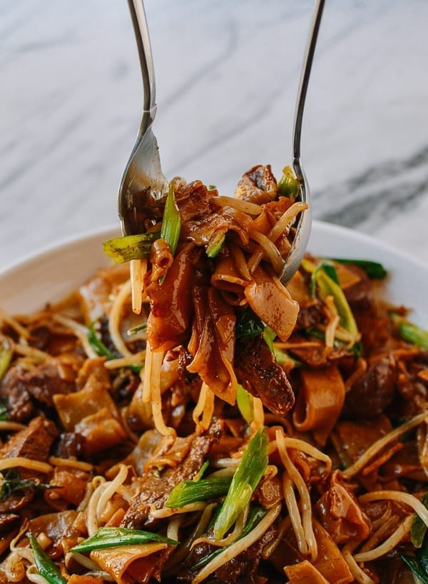 Serving beef chow fun noodles, thewoksoflife.com