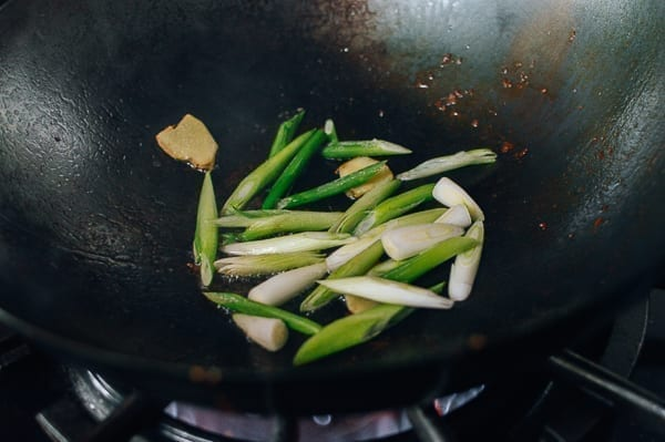 Ginger and scallions in wok, thewoksoflife.com