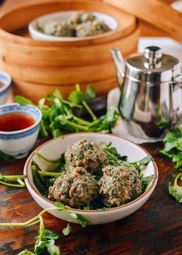 Watercress Steamed Meatballs, thewoksoflife.com