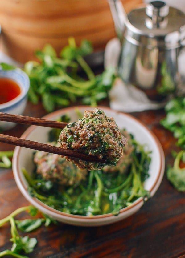 Steamed watercress meatball, thewoksoflife.com