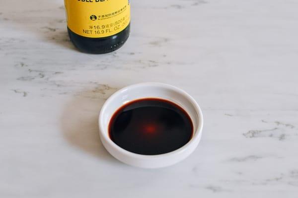 Double black soy sauce poured out, thewoksoflife.com