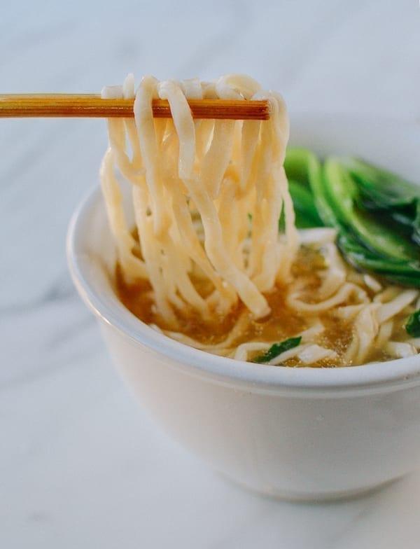 Homemade noodles served in soup, thewoksoflife.com