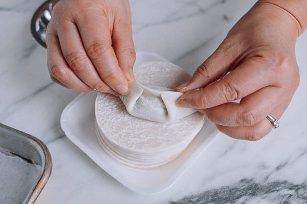 Sealing double pleated dumpling, thewoksoflife.com