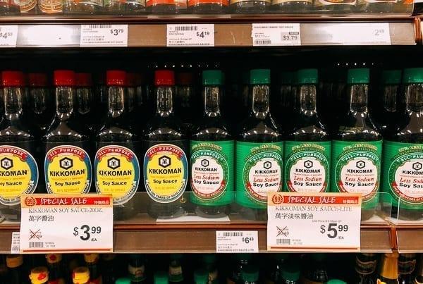 Kikkoman soy sauce on store shelf, thewoksoflife.com