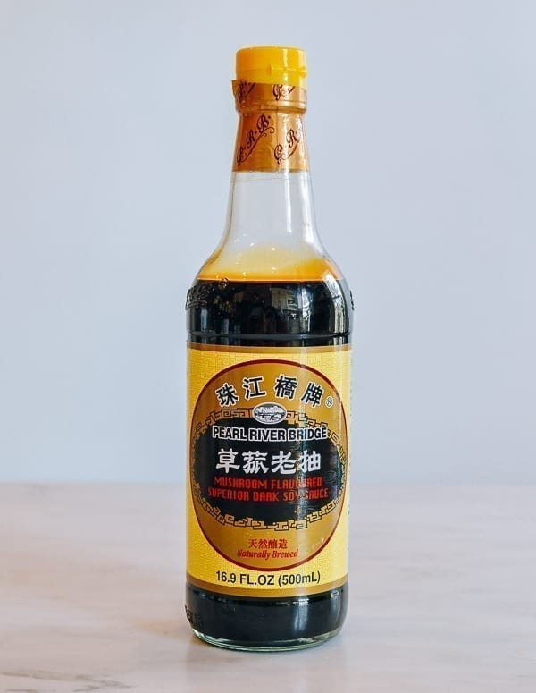 Bottle of Pearl River Bridge Mushroom Dark Soy Sauce, thewoksoflife.com