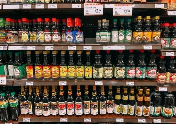 Soy Sauce Shelf in Asian grocery store, thewoksoflife.com