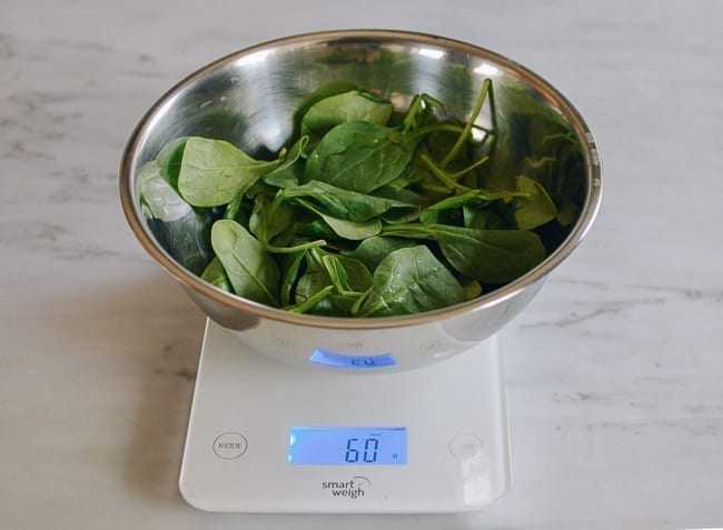 weighing out baby spinach, thewoksoflife.com