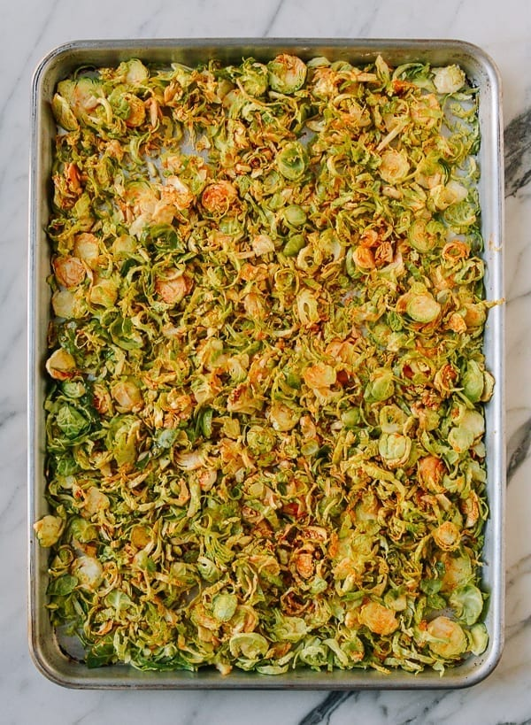 Brussels sprouts tossed in spicy sweet sauce, thewoksoflife.com
