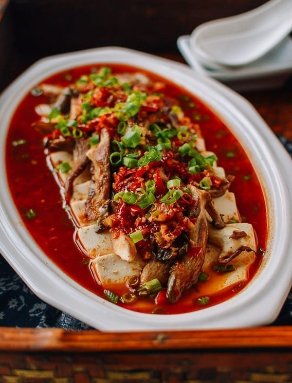 Spicy Hunan Steamed Tofu with Mushrooms and Salted Chilies, thewoksoflife.com