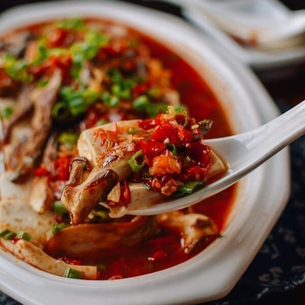Hunan Steamed Tofu with Mushrooms and Duo Jiao, thewoksoflife.com