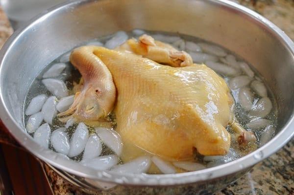 Poached chicken in ice water, thewoksoflife.com