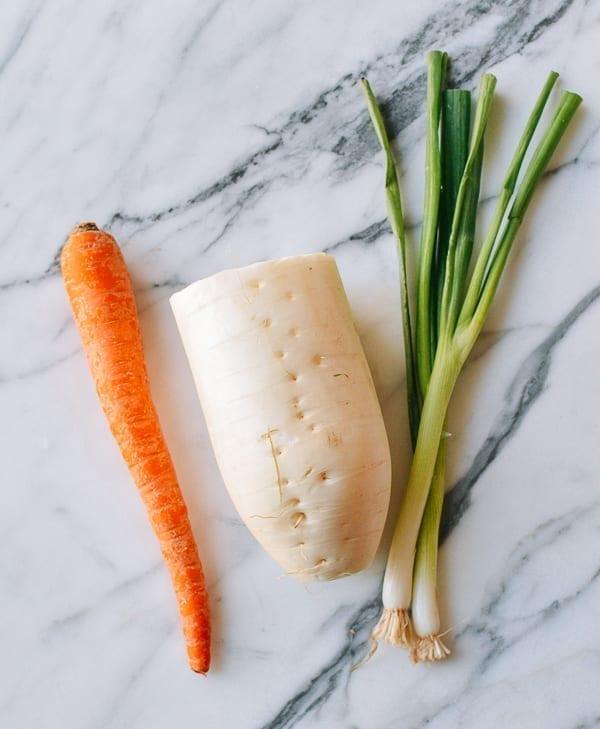 Carrot, daikon radish, scallions, thewoksoflife.com