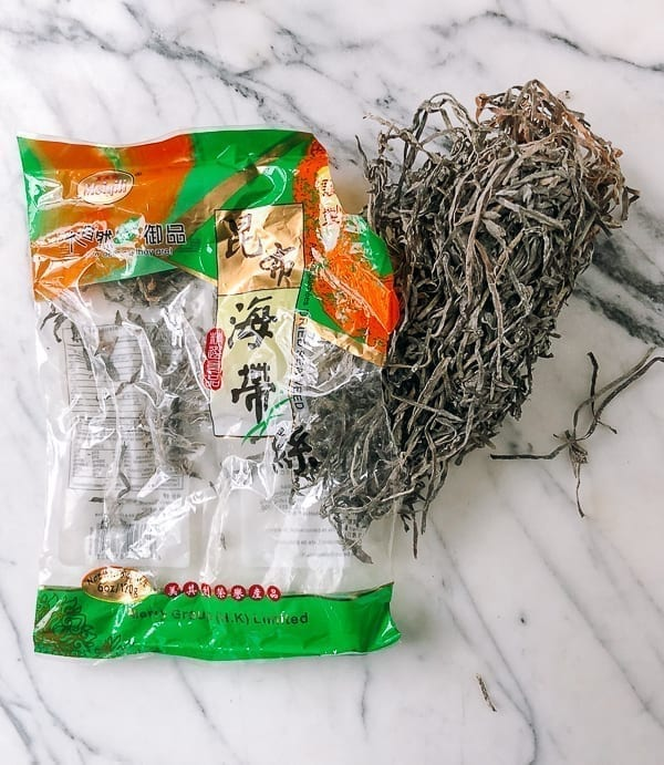Dried kelp strips with packaging by thewoksoflife.com