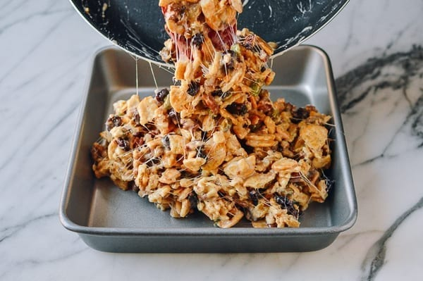 Shaping marshmallow treats in baking pan, thewoksoflife.com