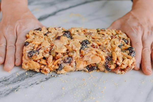 Shaping marshmallow treats on cracker crumbs, thewoksoflife.com