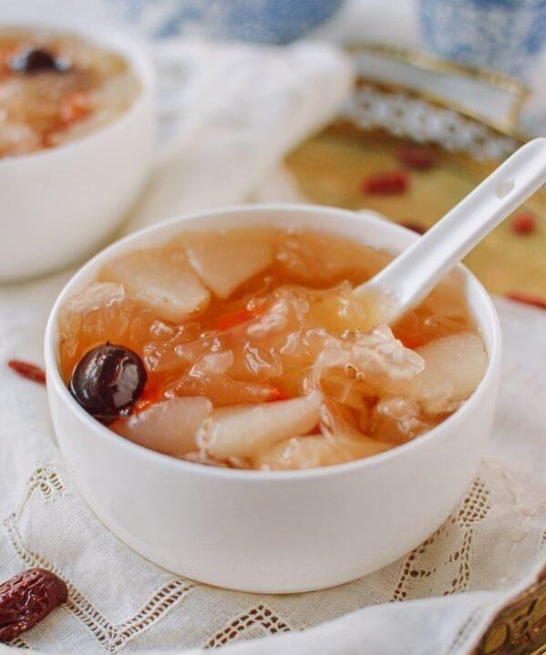 Snow Fungus Soup with Pears, thewoksoflife.com