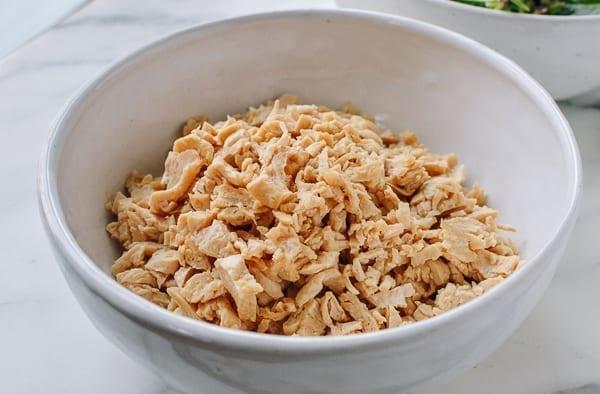 Bowl of chopped seitan, thewoksoflife.com