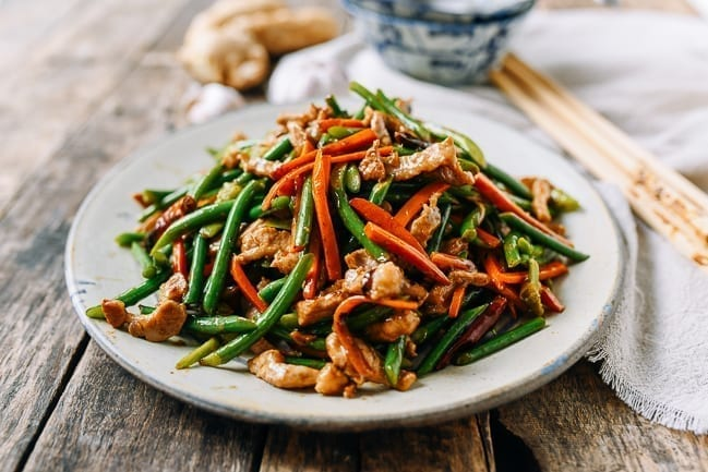 Chinese garlic scapes stir-fry with pork