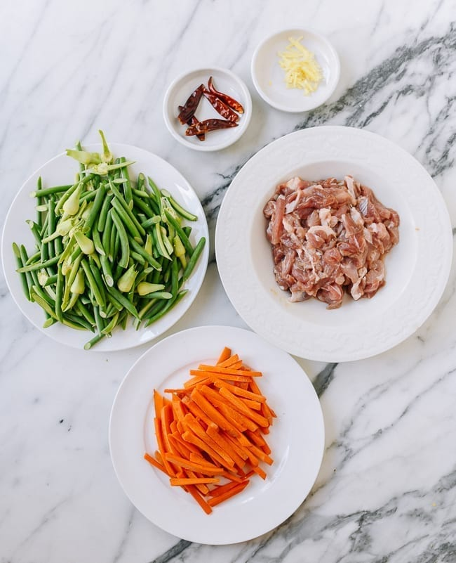 garlic scapes, julienned carrots, pork, chilies, and ginger