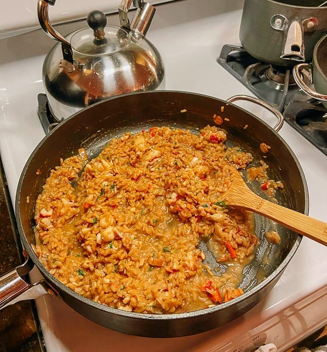 Pan of lobster risotto, thewoksoflife.com