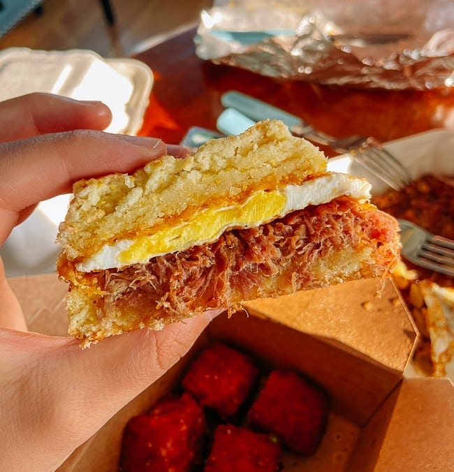 Traditional breakfast sandwich on a biscuit from Dutch's in Portland, Maine