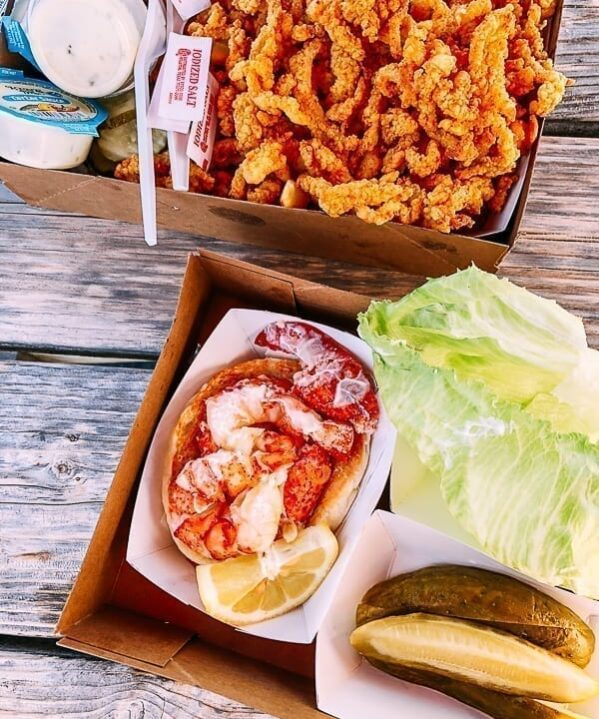 Lobster and fried clam strips - Maine seafood, thewoksoflife.com