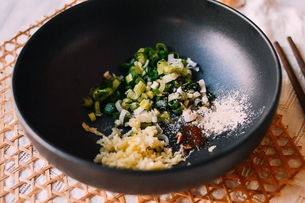 Scallions, garlic, soy sauce, sugar, white pepper, thewoksoflife.com