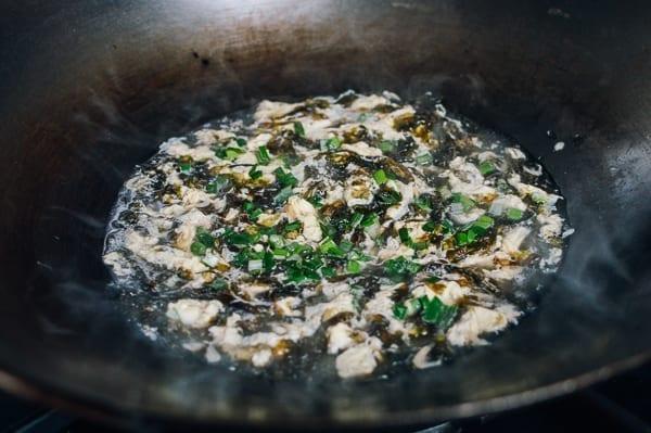 Simmering seaweed egg soup, thewoksoflife.com