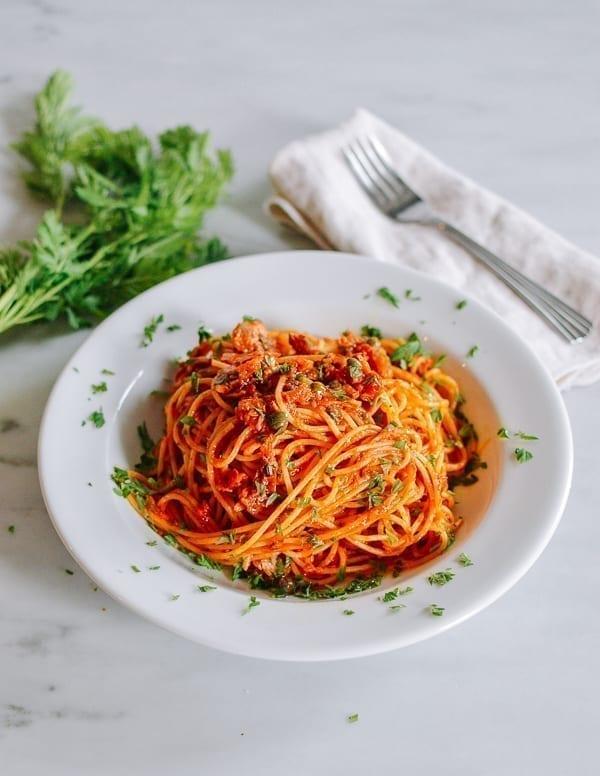 Tuna Tomato Pasta, thewoksoflife.com
