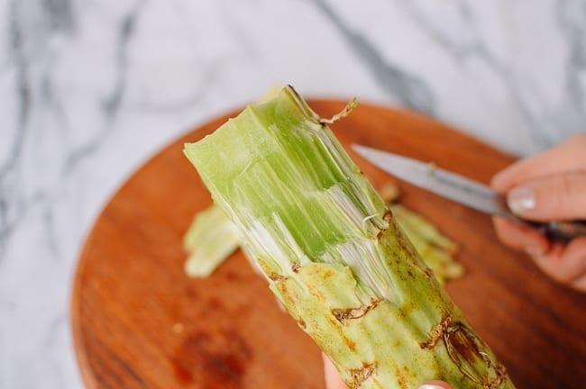 Peeled Celtuce stem, thewoksoflife.com