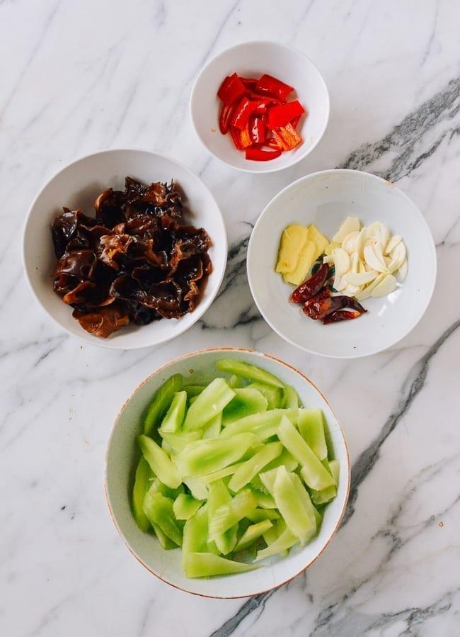 Celtuce Stir-fry ingredients, thewoksoflife.com