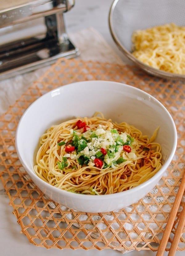 Homemade Chinese Egg Noodles with Garlic, Scallion, and Chili, thewoksoflife.com