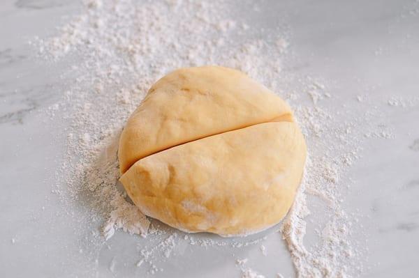 Dividing dough in half, thewoksoflife.com