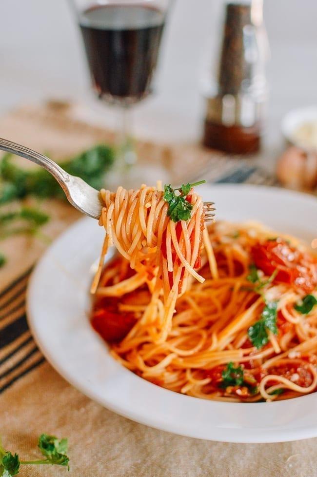Angel Hair Pasta with Roasted Tomato Sauce, thewoksoflife.com