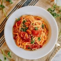 Slow Roasted Tomato Pasta, thewoksoflife.com