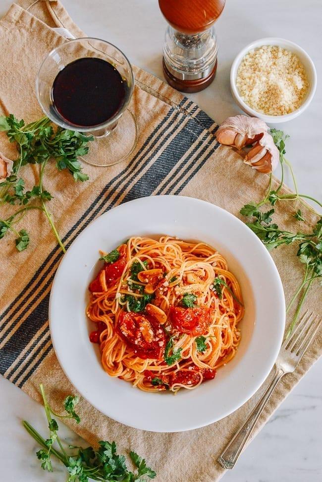 Roasted Tomato Pasta, thewoksoflife.com
