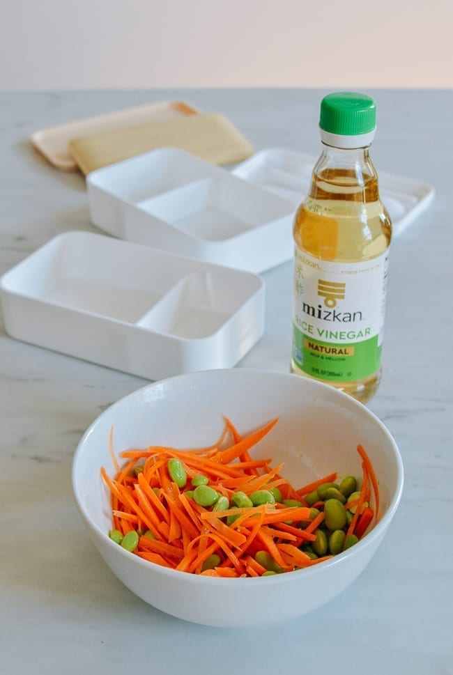 Marinated carrots and edamame with rice vinegar and sesame oil, thewoksoflife.com