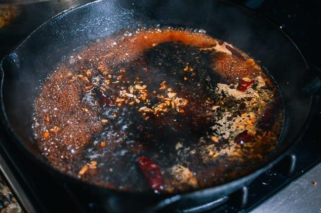 Simmering General Tso's Sauce, thewoksoflife.com