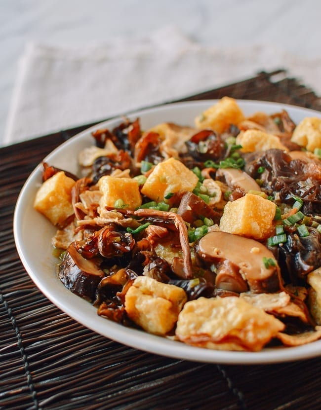 Chinese Steamed Seitan & Tofu with Mushrooms and Lily Flowers, thewoksoflife.com