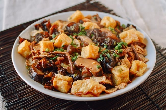 Vegan Steamed Chicken with Mushrooms and Lily Flower, thewoksoflife.com