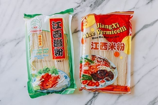 Dried Rice Noodle packages, thewoksoflife.com
